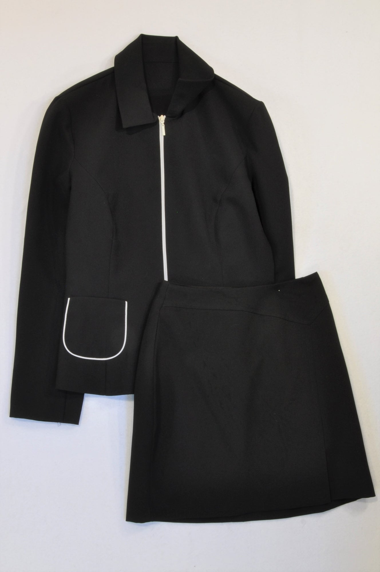 Inwear Black White Trim Office Jacket & Skirt Outfit Women Size 34