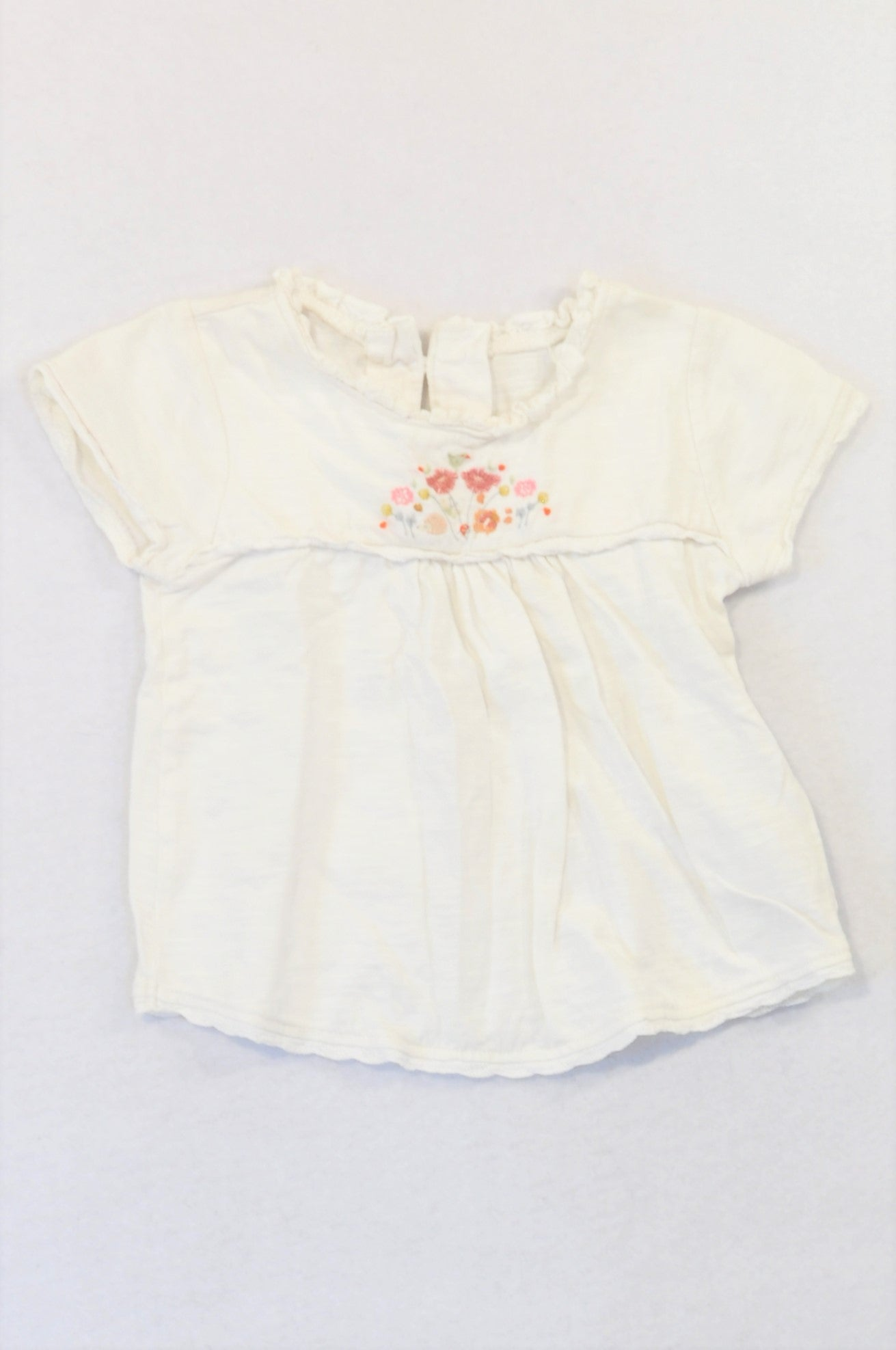 Next White Embroidered Bodice Lace Trim T-shirt Girls 9-12 months