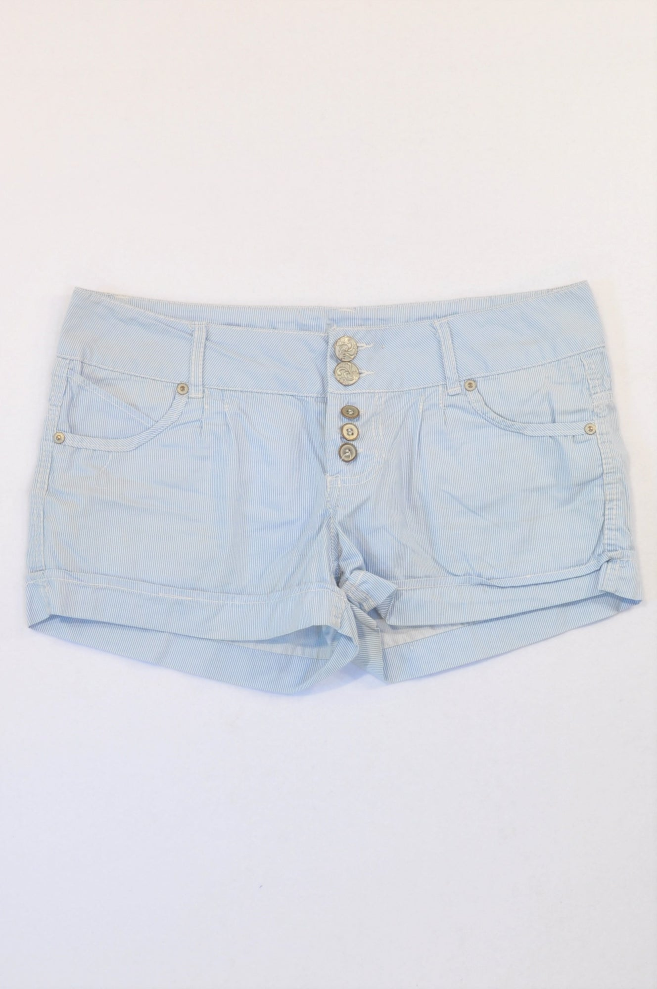 Mr. Price Blue Thin Pinstripe Roll Up Shorts Women Size 34