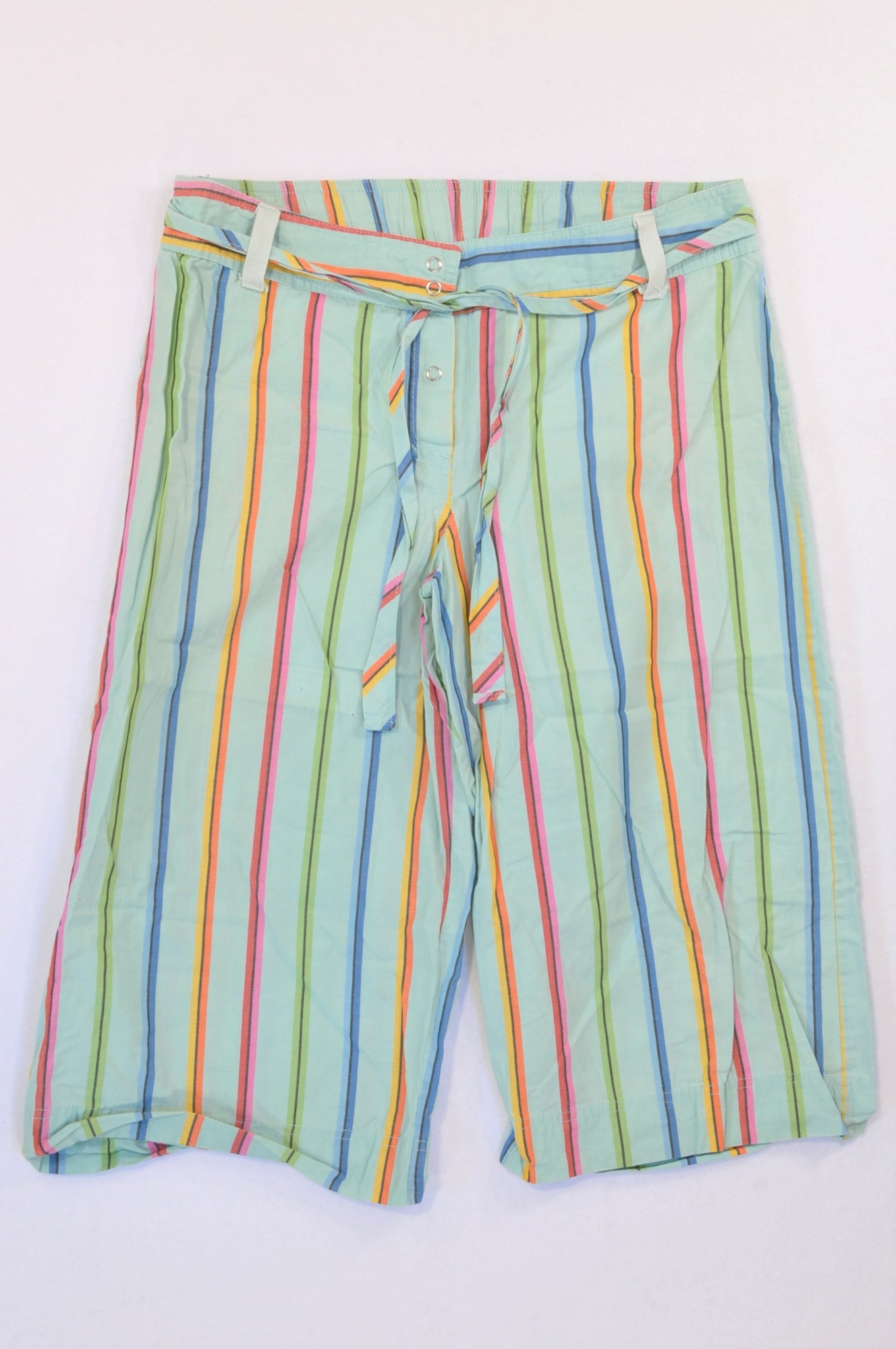 Woolworths Multi Color Blue Pinstripe 3/4 Pants Women Size S