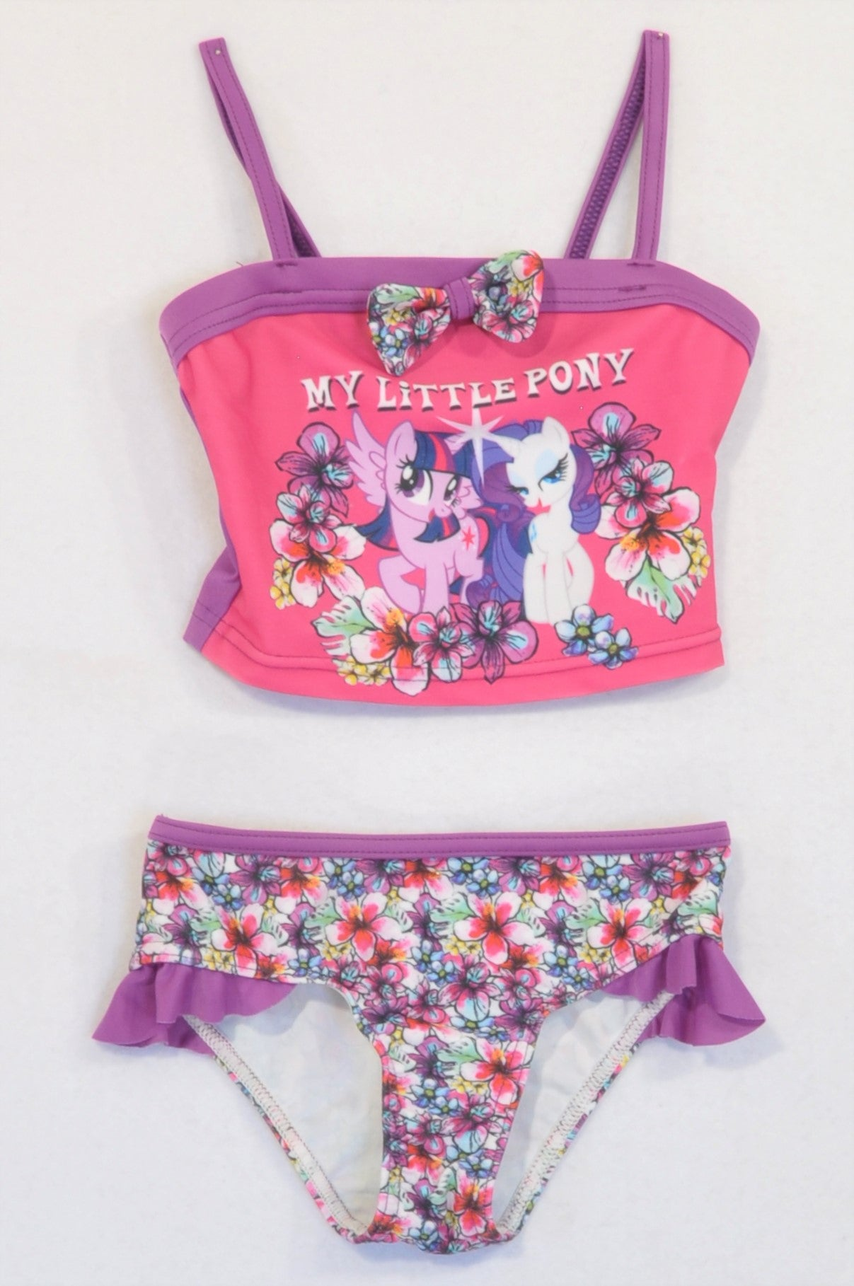 My Little Pony 2 Pcs Purple Floral Swim Suit Girls 3-4 years
