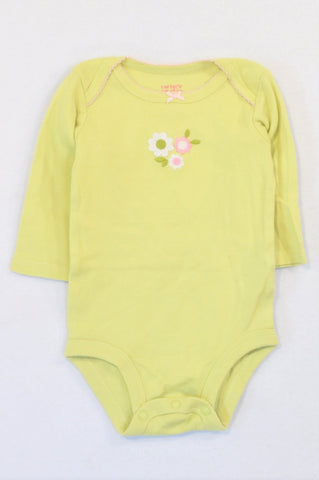 Carter's Lime Green Tiny Daisy Flower Baby Grow Girls 0-3 months