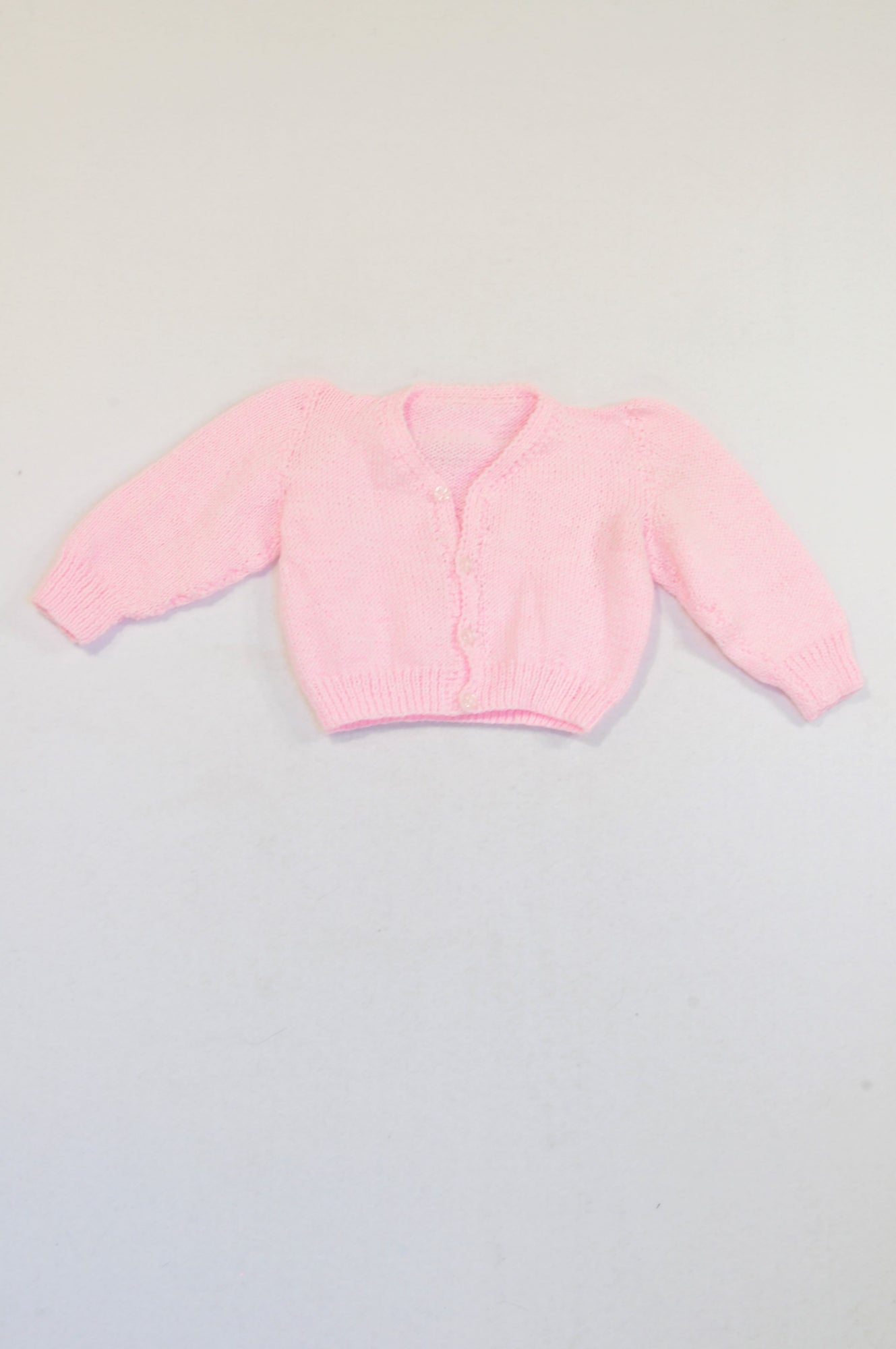 Unbranded Pink Knit Button Jersey Girls 3-6 months