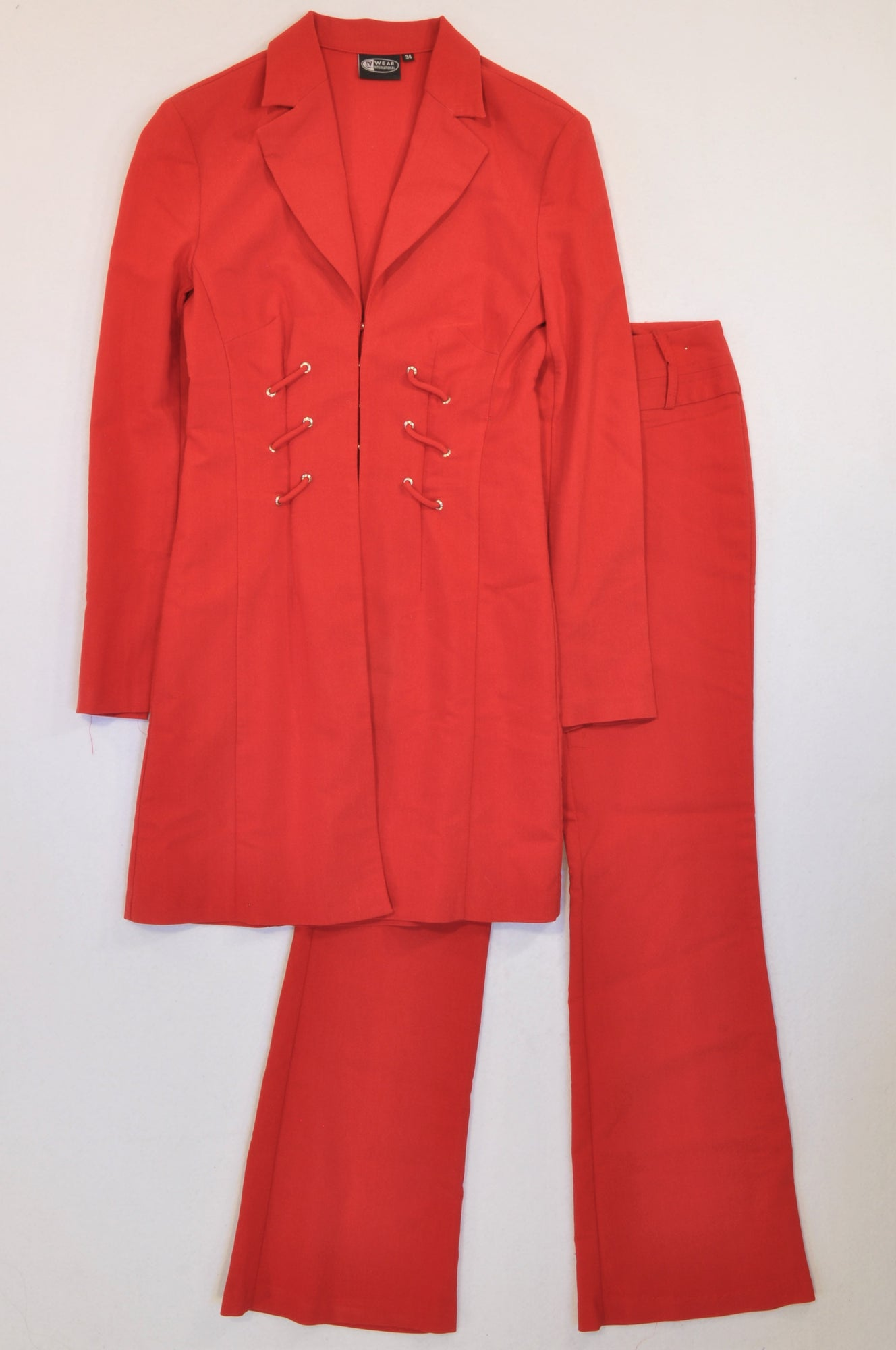 Inwear Red Corseted Jacket & Pants Outfit Women Size 34