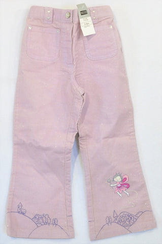 New Next Purple Glitter Corduroy Fairy Pants Girls 2-3 years