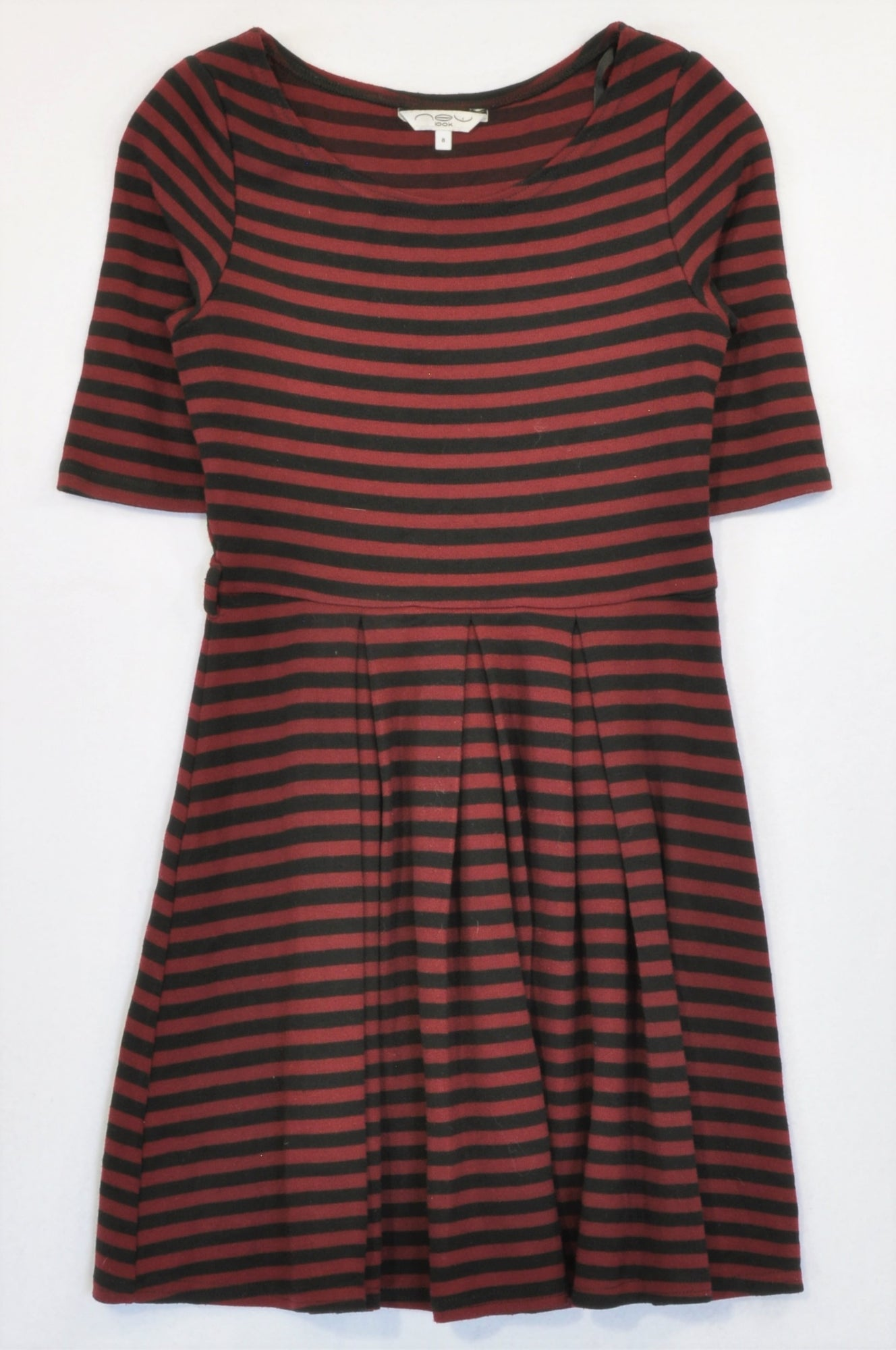 New Look Maroon & Black Stripe 3/4 Sleeve Flair Dress Women Size 8