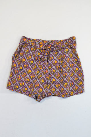 Country Road Purple & Orange Floral Diamond Belted Shorts Women Size 8
