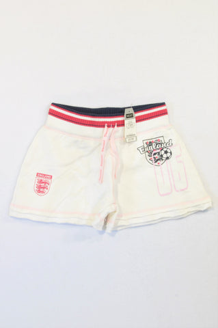 New Next White Ribbed Navy Banded England Play Shorts Girls 10-11 years
