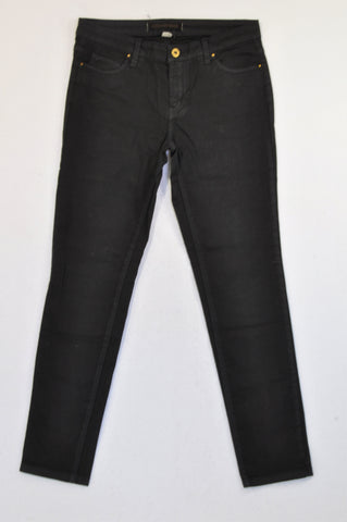 Country Road Basic Black Fitted Chino Pants Women Size 8