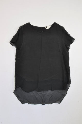 Trenery Black Organza Trim Panel Silk Blouse Women Size S
