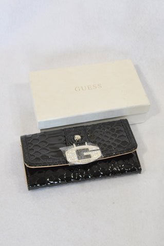 New Guess Black Shiny Buckle Wallet Accessory Women