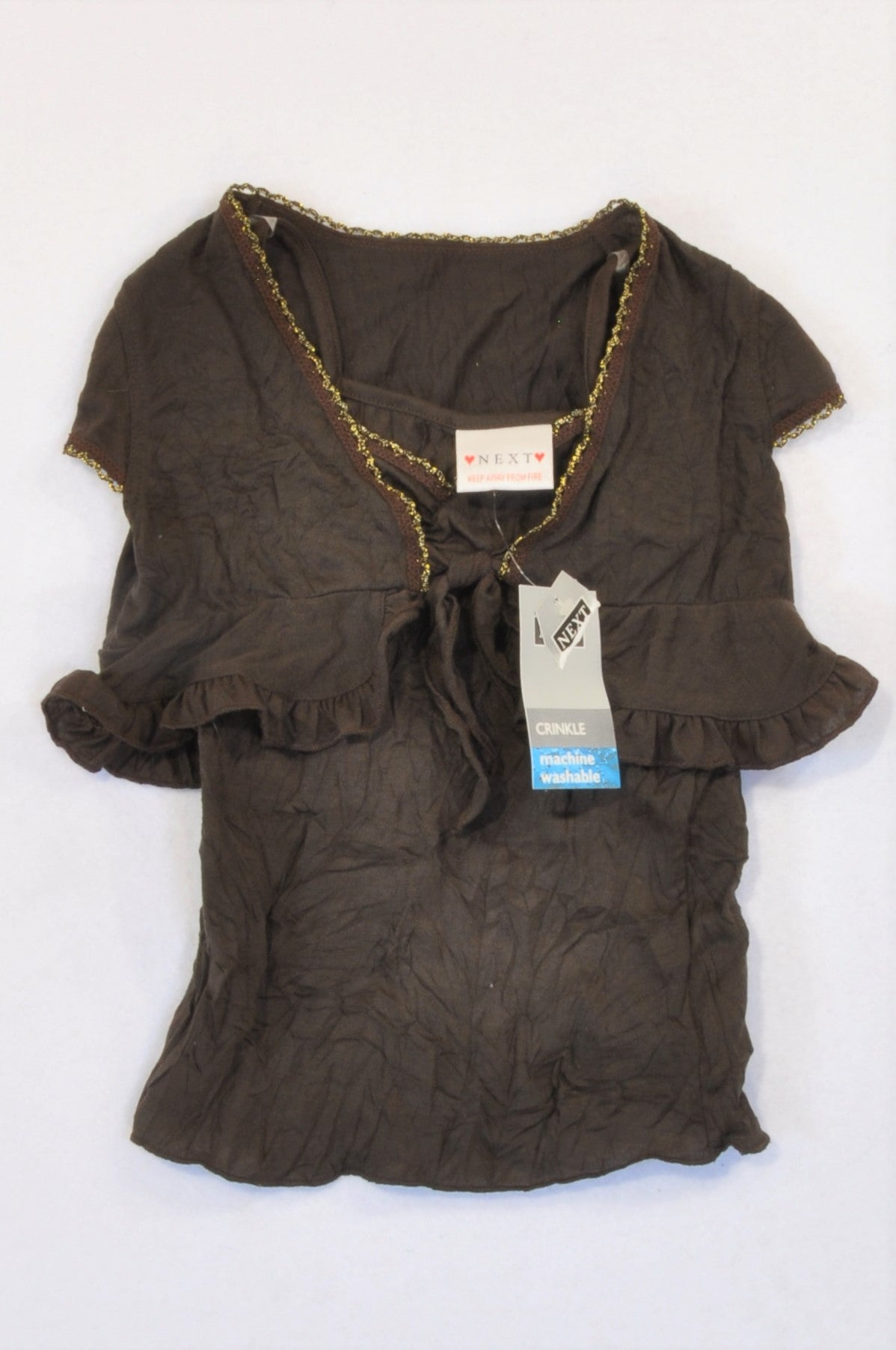 New Next Brown Frill Gold Trim T-Shirt & Cardigan Girls 3-4 years