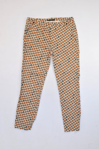 Zara Copper & Grey Geometric Trouser Pants Women Size 10