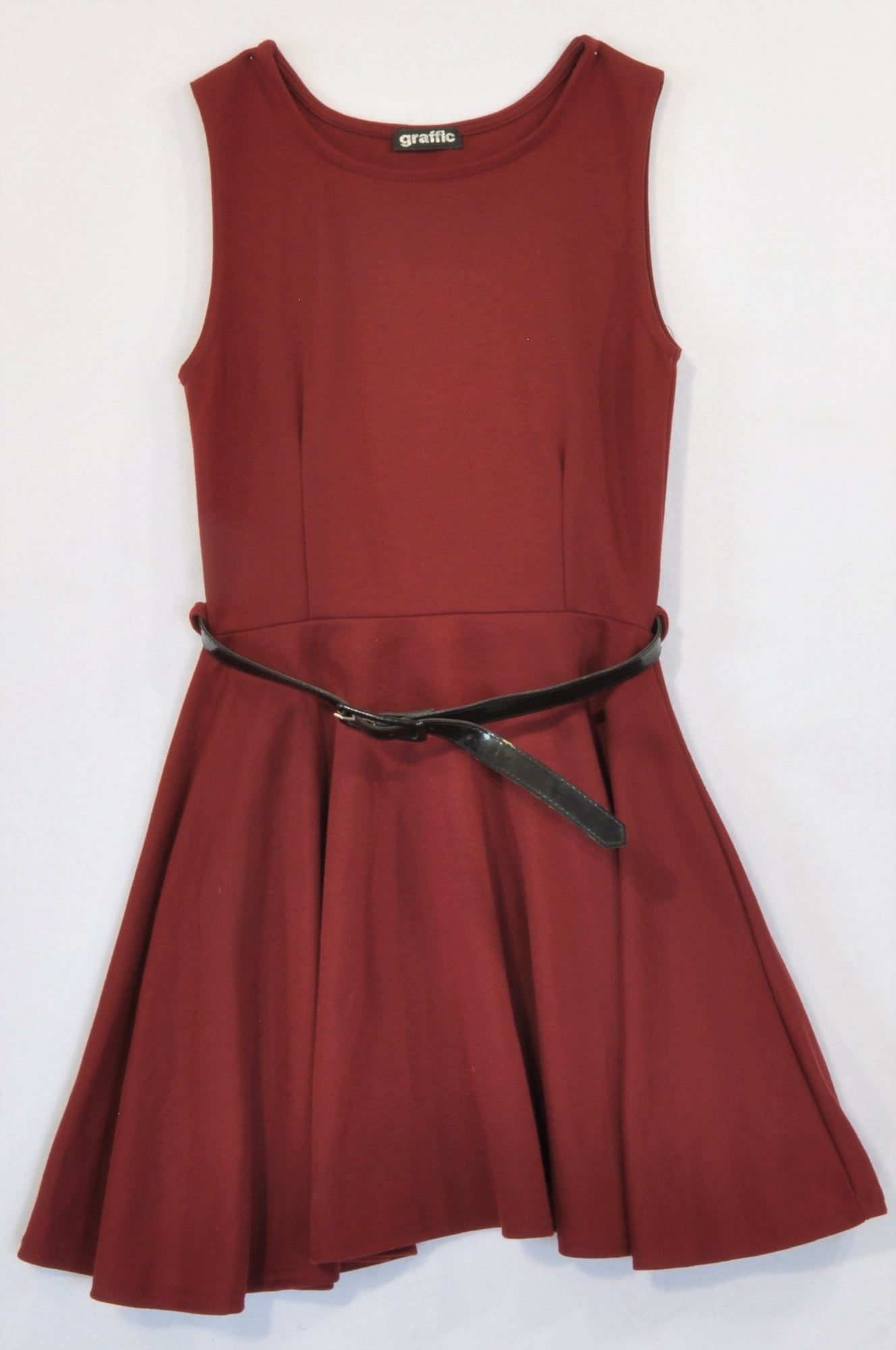 Graffic Maroon Belted Skater Dress Women Size 6