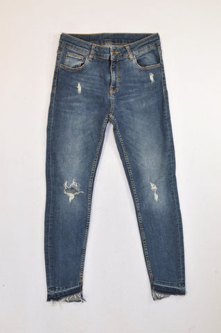 Zara Medium Wash Distressed Stretch Jeans Women Size 8