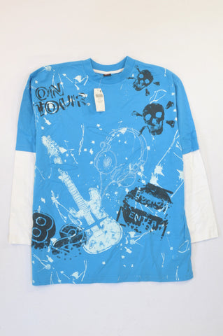 New Next Blue & White Skull Guitar T-shirt Boys 14-15 years