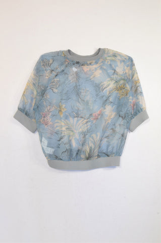 Zara Blue Sheer Floral Ribbed Trim Blouse Women Size S