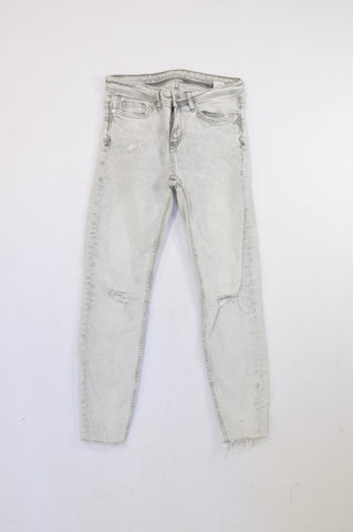 Zara Grey Light Wash Distressed Jeans Women Size 8