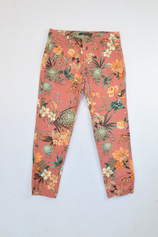 Zara Rose Pink Floral Trouser Pants Women Size M