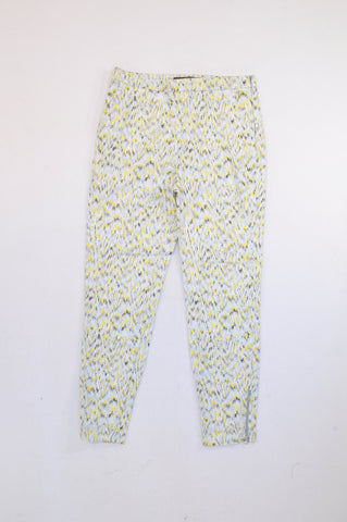 Zara Yellow, Blue & Grey Watercolour Zip Detail Trouser Pants Women Size M