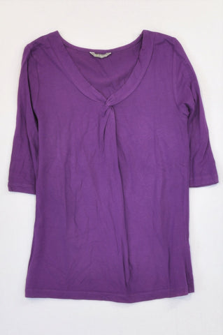 Marks & Spencers Purple Knot Neckline Demi Sleeve T-shirt Women Size 10
