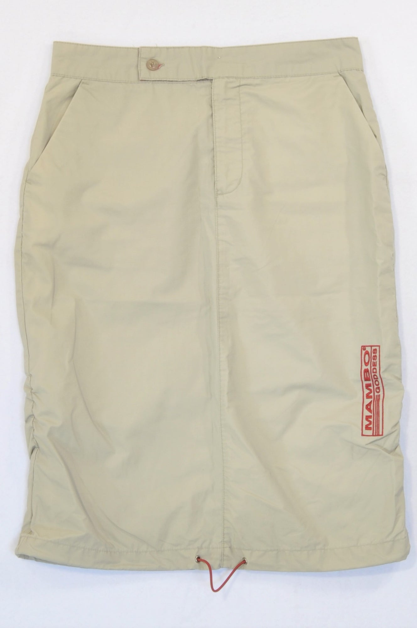 Mambo Goddess Beige Logo Embroidered Cargo Skirt Women Size 8