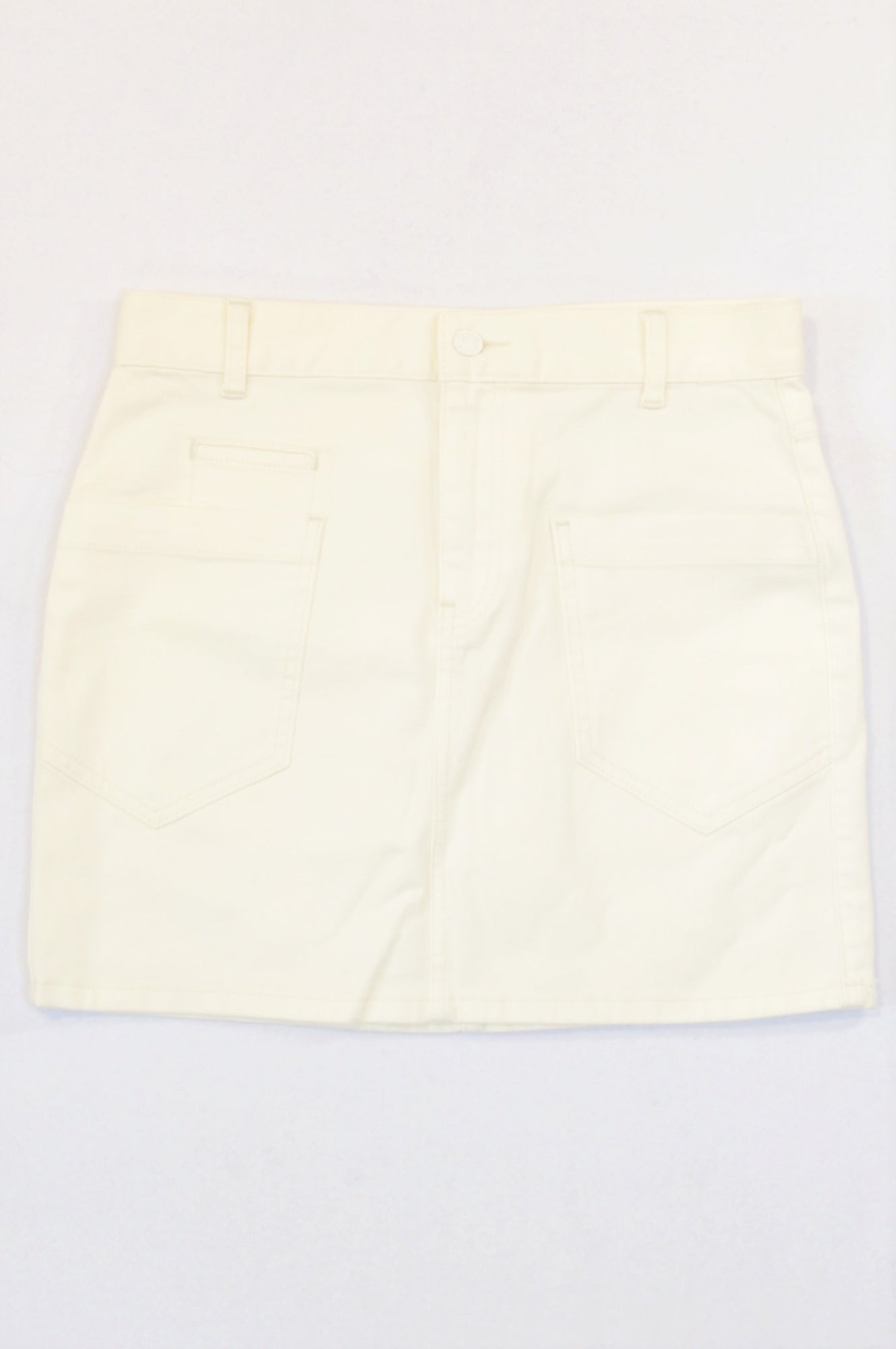 Joe Fresh Basic Cream Pocket Denim Mini Skirt Women Size 8