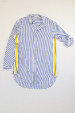 Zara Blue Stripe Roll Sleeve Yellow Ribboned Detail Blouse Women Size S