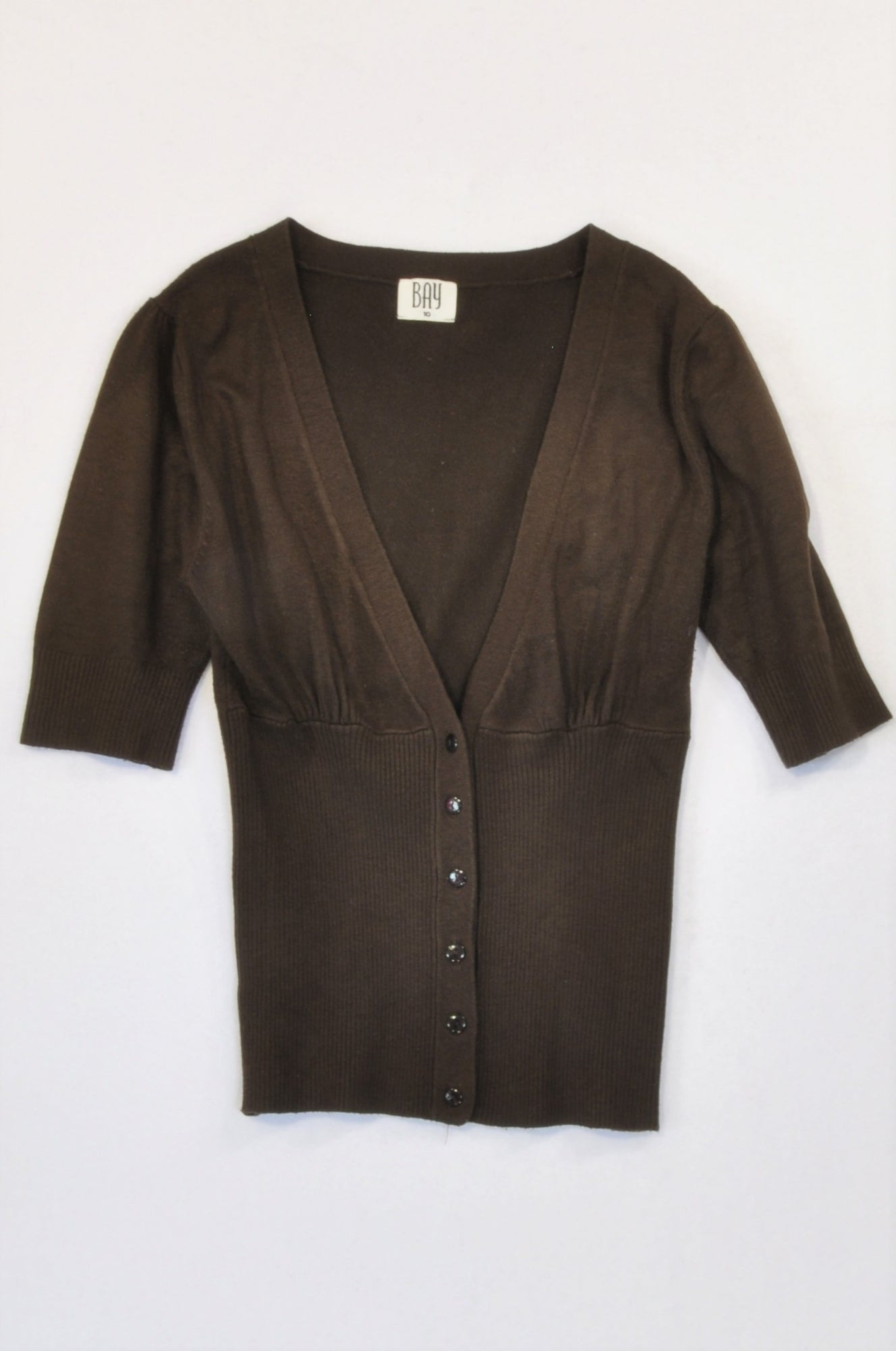 Bay Brown Cap Sleeve Cardigan Women Size 10