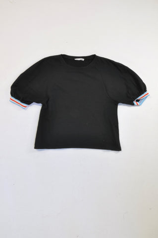 Zara Black Stripe Elasticated Cuffed Top Women Size S