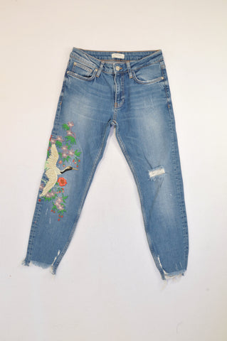 Zara Medium Wash Embroidered Goose Jeans Women Size 8