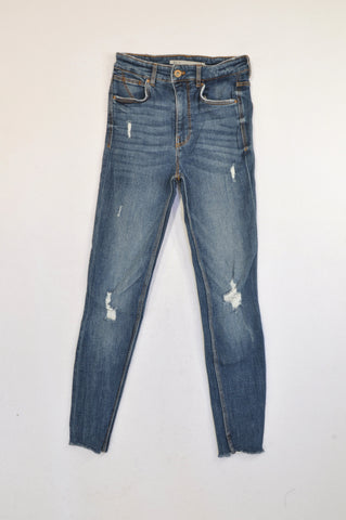 Zara Medium Wash Distressed Raw Hem Jeans Women Size 6