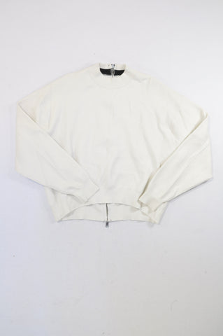 Zara White Knit Rear Zip Jersey Women Size S
