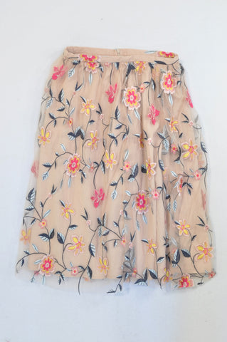 Zara Pink Tulle Overlay Embroidered Flower Skirt Women Size XS