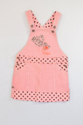Ti Mamzel Lumo Pink Dotty Detail Dungaree Dress Girls 5-6 years