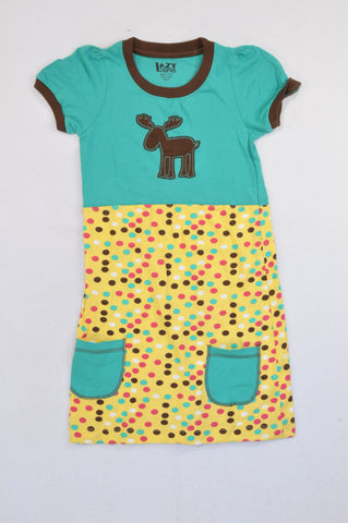 Lazy One Teal Moose Patch Dotty Skirt Dress Girls 5-6 years