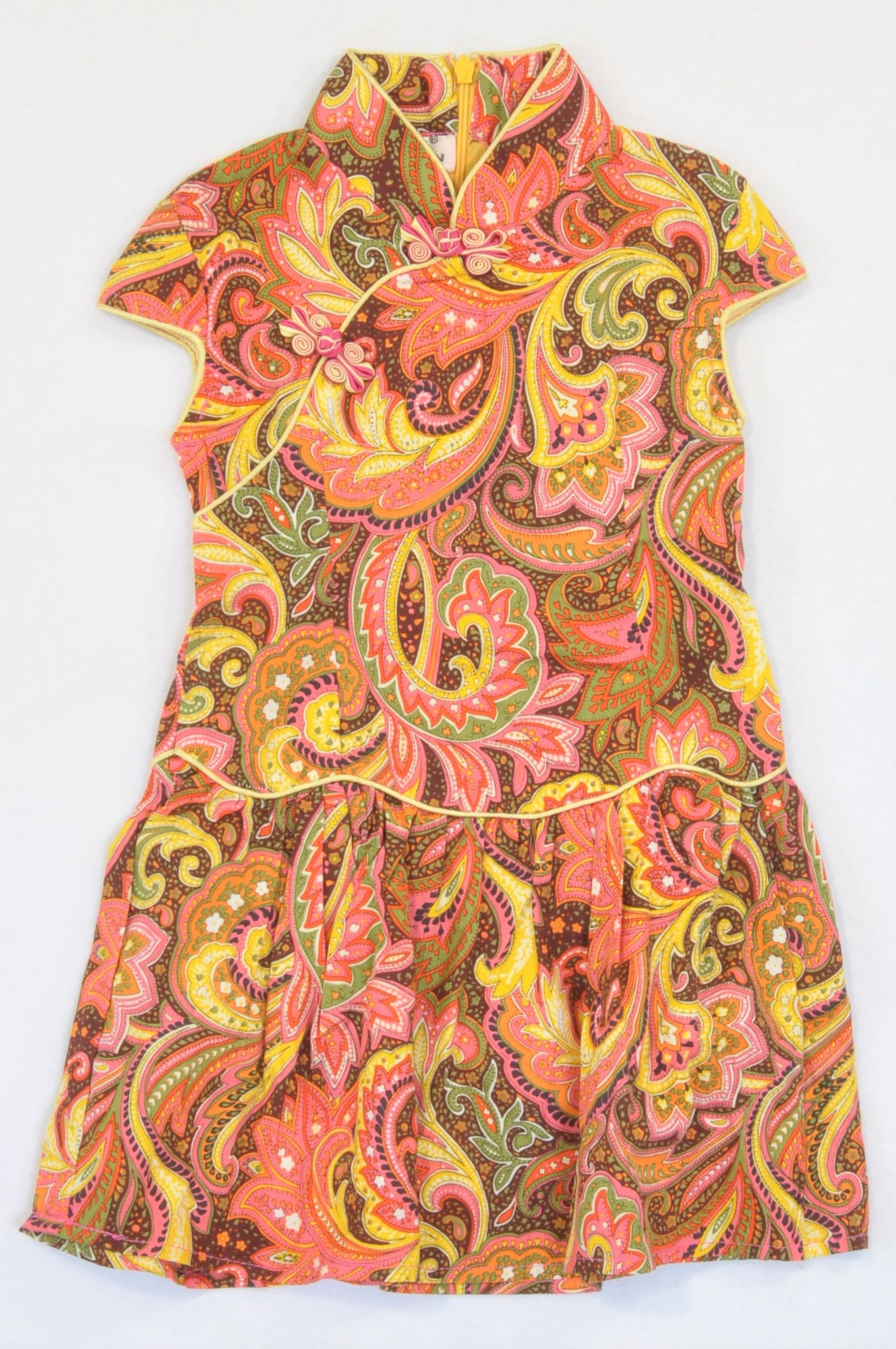 Xideni Pink & Orange Paisley Cap Sleeve Dress Girls 18-24 months