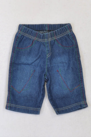 Woolworths Red & Green Stitch Jeans Boys 0-3 months