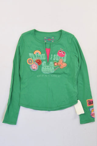 New Next Green & Pink Flower Frog Go For It Girls T-shirt Girls 10-11 years