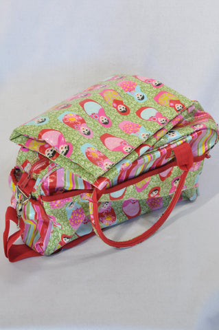 Lou Harvey Multi Color Green & Red Russian Doll Nappy Bag Unisex N-B to 2 years