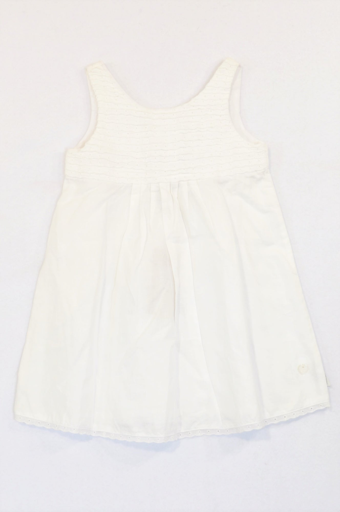 New Earthchild White Eyelet Horizontal Pleats Dress Girls 2-3 years