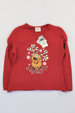 New Next Red Reindeer Kiss Me I'm Cute T-shirt Girls 6-7 years
