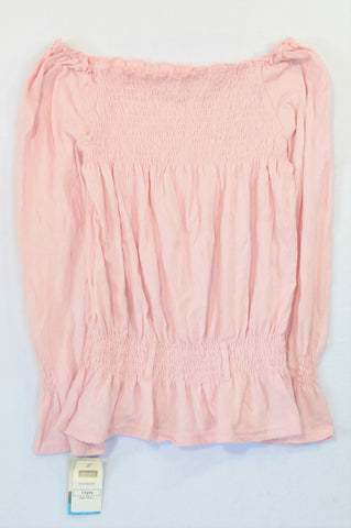 New Next Pink Elasticated Waist Cold Shoulder Shirt Girls 10-11 years