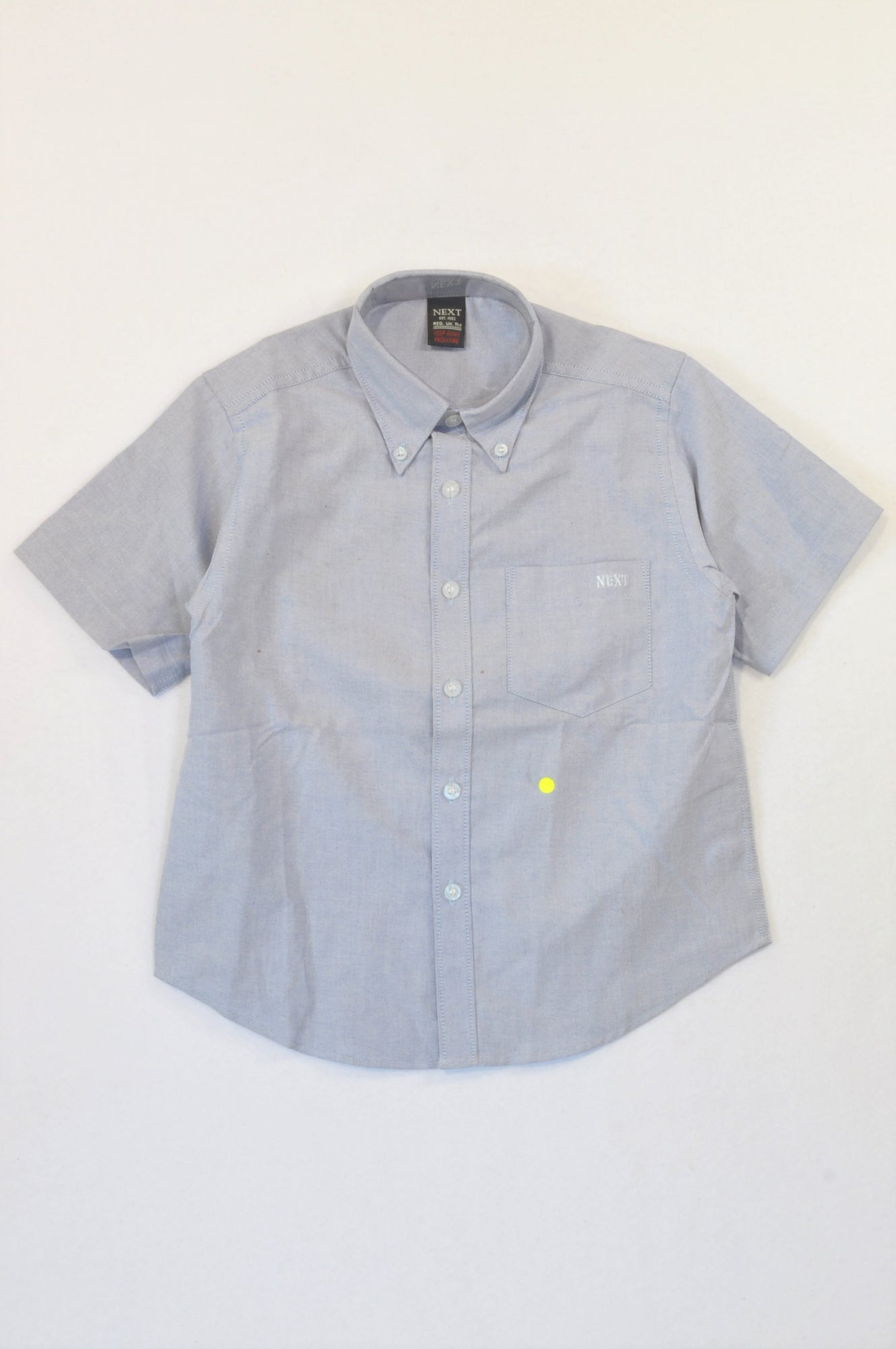 New Next Light Blue Button Collared Shirt Boys 6-7 years