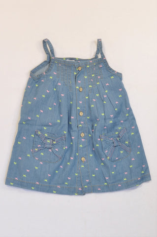 New Little Pops! Chambray Puppy Print Strappy Dress Girls 5-6 years