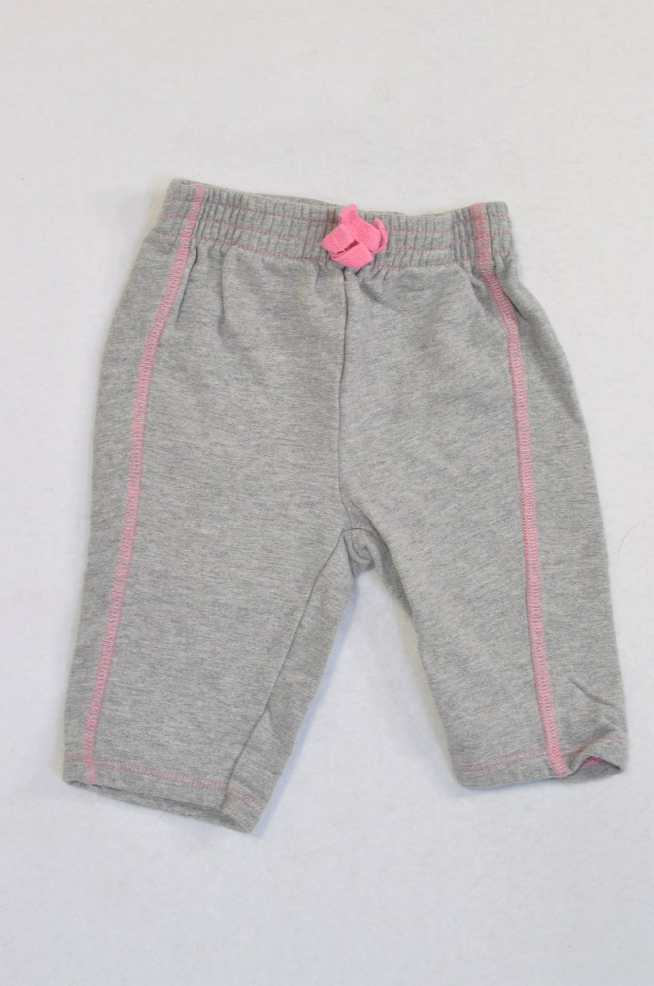 Woolworths Grey Pink Trim Bow Pants Girls 0-3 months