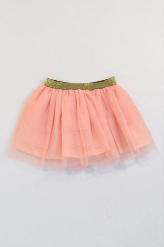 New Pop Candy Dusty Pink Tulle Layered Gold Trim Skirt Girls 5-6 years