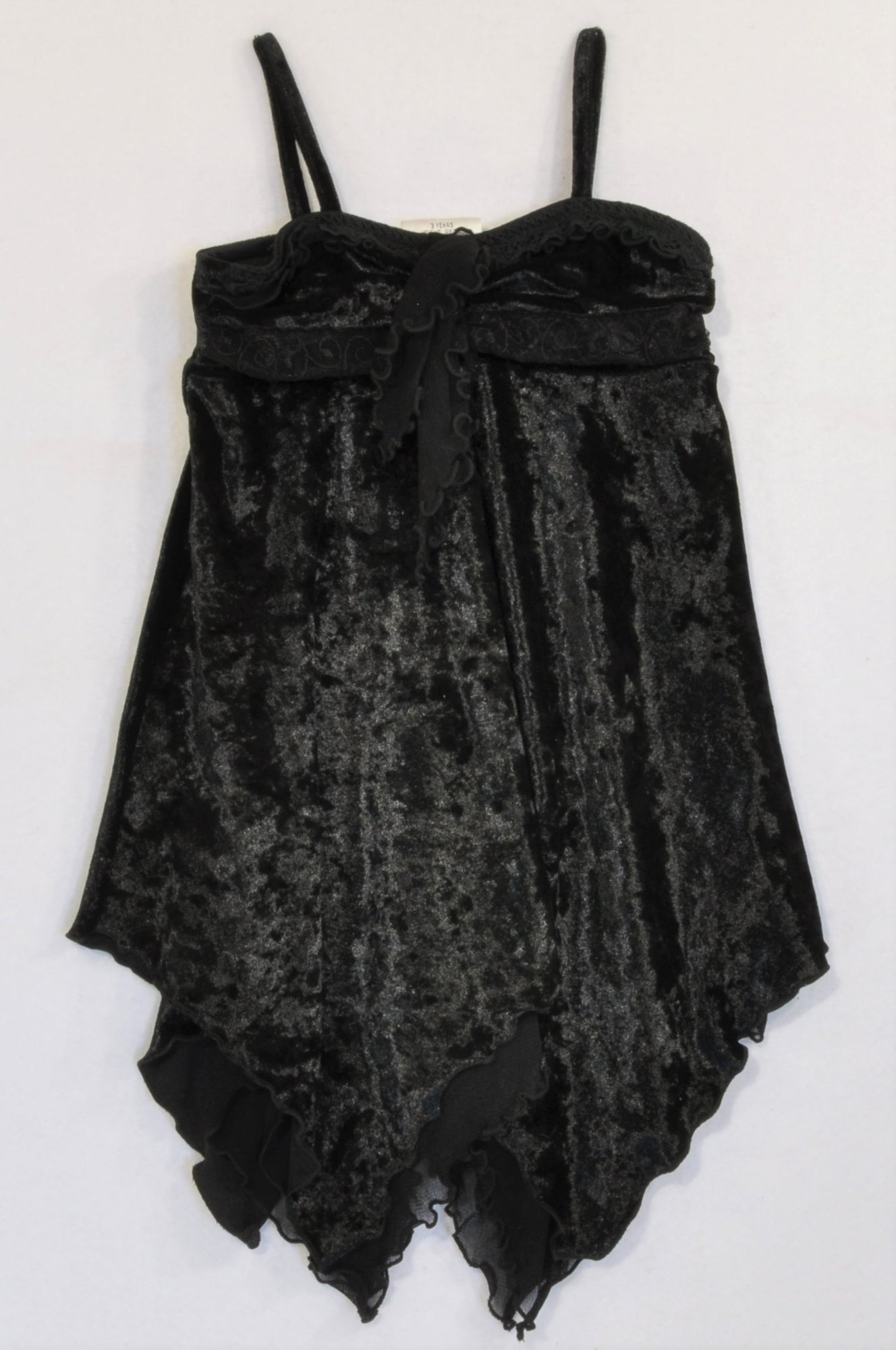New Next Black Velour Strappy Blouse Girls 2-3 years