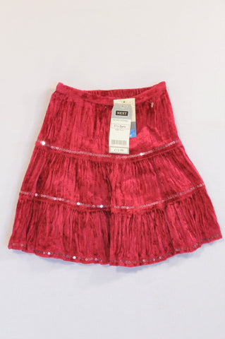 Next Red Velour Sequin Detail Skirt Girls 2-3 years