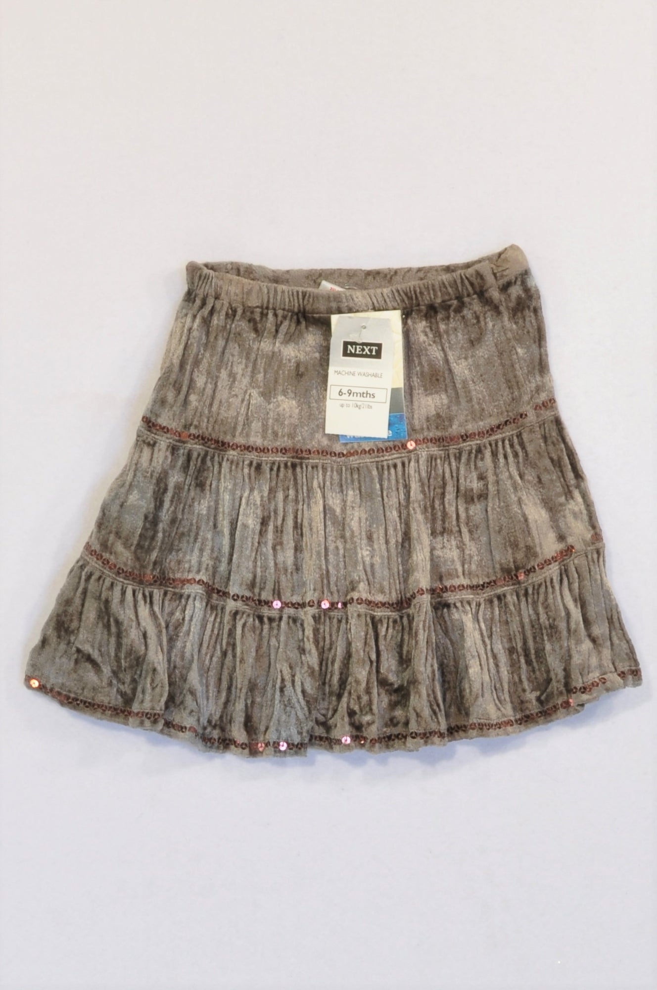 New Next Brown Velour Sequin Skirt Girls 1-2 years